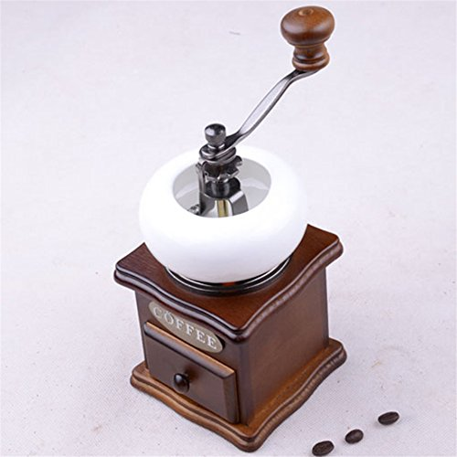 HUKOER Classical Wood Coffee Grinder Mini Manual Coffee Grinder Ceramic Core Retro Coffee Spice Mill With Porcelain