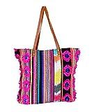 IndiWeaves Vintage Jacquard Leather Handle Handmade Tote Bag, Top Handle Shoulder Bags, Shopper Bags