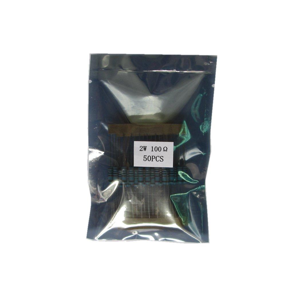 Almencla 50PCS 2W Metal Film Resistor /±1/% 100 Ohm 5 Colour Bands
