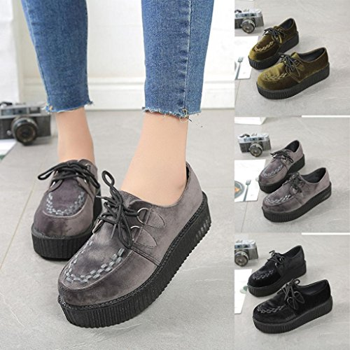 Transer Ladies Leisure Platform Flats Shoes, Women Slip On Comfort Work Loafers Lazy Shoes Gray