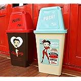 アメリカン 20リットル ダストボックス  【BETTY DINER(ライトブルーxクリーム)】 ベティちゃん ベティ ブープ Betty Boop ゴミ箱 キャラクター ごみ箱