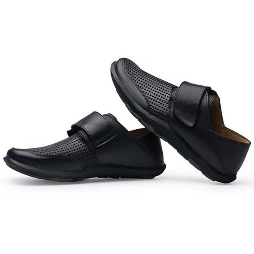 Liuxiaoqing Sommer erste verschleißfeste Schicht Leder Anti Rutsch verschleißfeste erste Hohl Schuhe Schwarz 1ad833