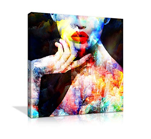 AMEMNY Large Sexy Art Woman Bedroom Decoration Wall Art Canvas Painting Abstract Colorful Fashion Posters and Prints Painting Decor Living Room Background Painting Framed Ready to Hang
