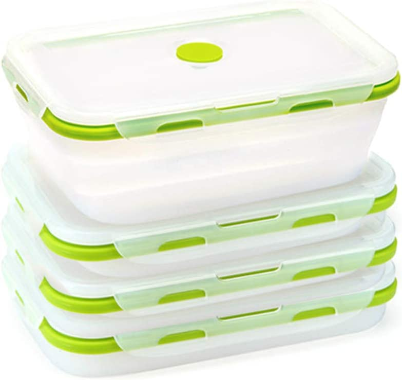 4 Pack Food Storage Container with Lids,Collapsible Silicone Food Preserving Storage Boxes,Bento Lunch Boxes,BPA Free,Oven Microwave Freezer and Dishwasher Safe (Same Capacity)
