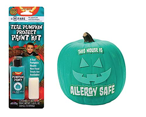 Teal Pumpkin Decorating Kit Including Paint and Foam Face
