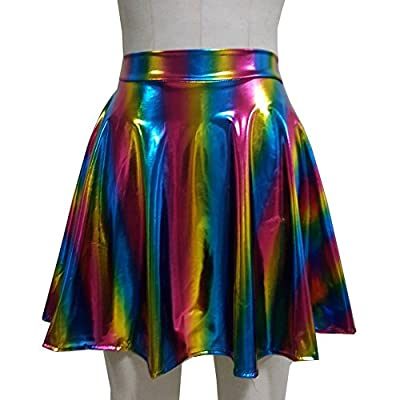 Pinda Summer Holographic Rainbow Rave High Waisted Flare Skater Skirt (M, 369rainbow)