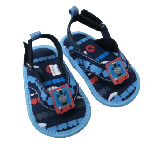Infant Toddler Boy's Thomas the Tank Navy and Light Blue Canvas Thong Sandal - Size 6-9 Months - Canvas Thongs