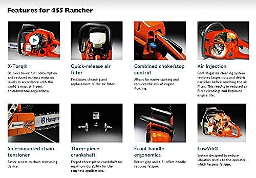 Husqvarna 455 Rancher 20-Inch 55-1/2cc 2-Stroke Gas-Powered Chain Saw (CARB Compliant)