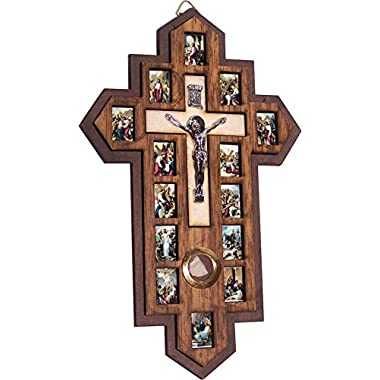 three Layers with Olive Wood Crucifix - icon showing 14 Stations of the Cross etched (7 x 4.75 inch)