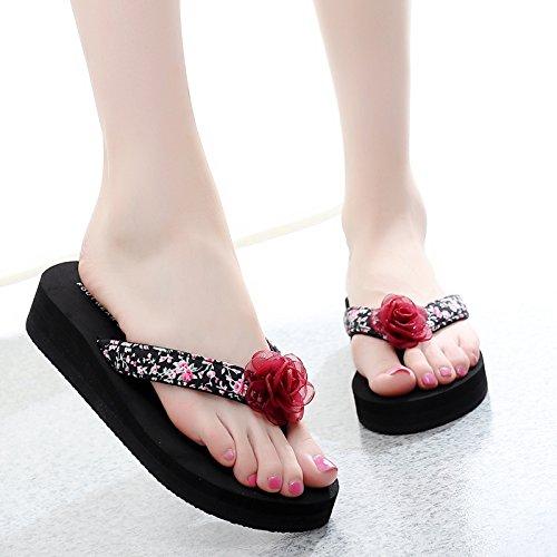 FLYRCX libre c antideslizante de al de Señoras al zapatillas zapatillas verano pendiente playa flip aire ocio grueso flops de clips mar inferior y junto moda 0W0Ap