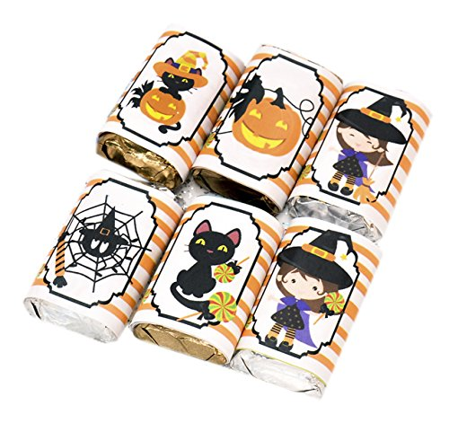 Halloween Cat Favor Labels, Halloween Party Candy Wrappers Set of 54 Stickers