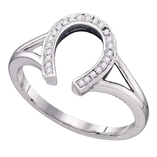Diamond Ladies Ring Horseshoe (10kt White Gold Womens Round Diamond Lucky Horseshoe Ring 1/12 Cttw)