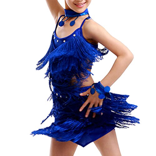 Latin Dance Costumes Hong Kong (Girls' Party Dancing Dress Latin Dress Costume Split 110cm-120cm,Royalblue)