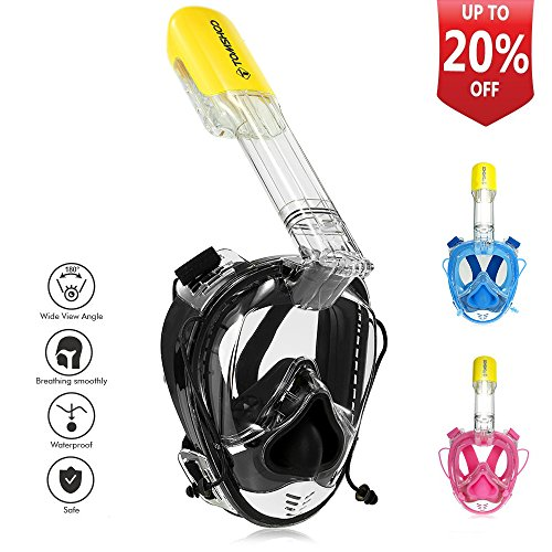 ihocon: TOMSHOO 全罩式浮潛面罩 Full Face Snorkel Mask Anti-fog Anti-leak