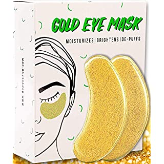Under Eye Gold Eye Mask - Energizing, Moisturising 24k Gold Collagen Patches | Vegan, All-Natural (15 Pairs)