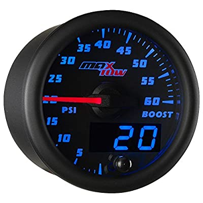"MaxTow Double Vision 60 PSI Turbo Boost Gauge Kit - Includes Electronic Pressure Sensor - Black Gauge Face - Blue LED Illuminated Dial - Analog & Digital Readouts - for Diesel Trucks - 2-1/16"" 52mm: Automotive"