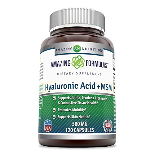 aluronic Acid & MSM Dietary Supplement - 500 Milligrams - 120 Capsules - Provides Joint, Tendon & Ligament Support - Promotes Flexibility – Skin Health Supplements* ()