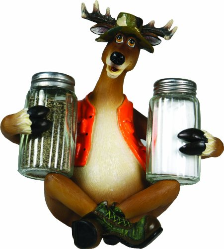 (River's Edge Products Hand Painted Poly Resin Salt and Pepper Shaker Set (Cunning Deer in Hunting Vest))