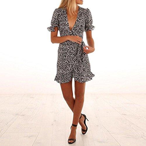 Profond V Mini Ete Cocktail Boheme Col Dress Femme Imprimée Vêtements Chic Manches Party Courte Robe Pas Sexy Soirée Cher Slim Poachers Noir Volants Ac5j4RLq3