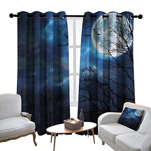 Lewis Coleridge Bedroom Curtains Halloween,Bats Flying in Majestic Night Sky Moon Nebula Mystery Leafless Trees Forest,Blue Black White,Thermal Insulated Room Darkening Window Shade 52