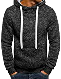 Lioder Men Casual Hooded Neck Long Sleeve Front Pocket Solid Pullover Hoodies Active Hoodies