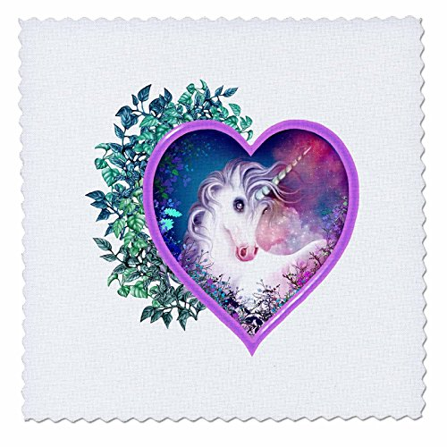 3dRose LLC qs_11688_1 A Sweet Unicorn Forever Held Within a Floral Heart of Love Quilt Square, 10 by 10-Inch