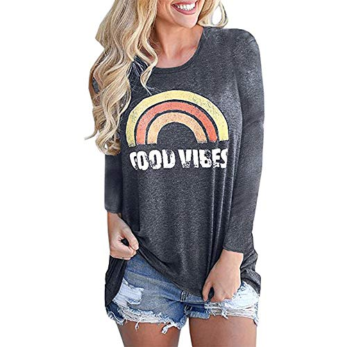 Vaise Good Vibes Tank Tops Long Sleeve Loose fit Graphic Tees Blouses Casual Tunics Rainbow T Shirts (S, Orange)