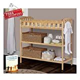 Natural Wood Crib with Changing Table Baby Changing Table Portable Infant Diaper Crib Changing Table Natural Toddler Newborn Wood & eBook by AllTim3Shopping
