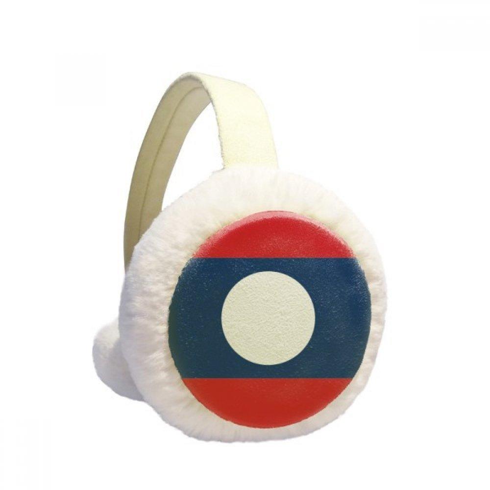 Laos National Flag Asian Symbol Winter Earmuffs Ear Warmers Faux Fur Foldable Plush Outdoor Gift
