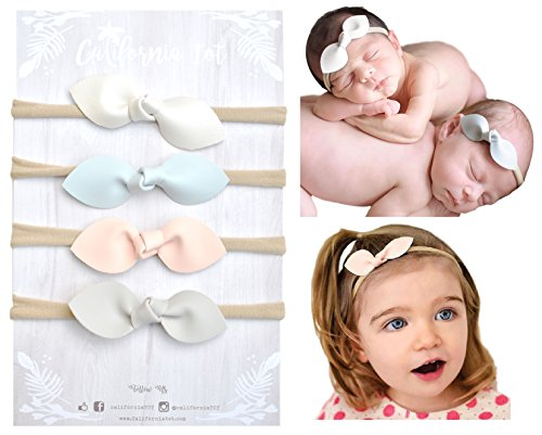 Rabbit Ears Faux Leather Bow - Soft & Stretchy Headband for Baby, Toddler, Girls, Set of 4 - Pale Kids