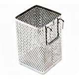 """Kitchen Utensil Chopsticks Perforated Holder with Hooks - Stainless Steel - Dishwasher Safe - Small Square Caddy 2.5"""" X 3.9"""" X 2.5"""""""