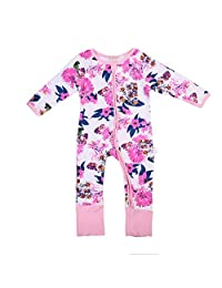 Newborn Baby Girl Pajamas Floral Sleeper Cute Flower Print Coveralls Clothes