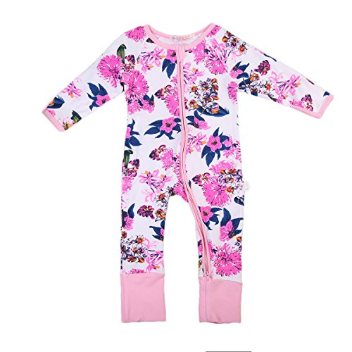 Newborn Baby Girl Pajamas Floral Sleeper Cute Flower Print Coveralls Clothes (60(3-6 months), Pink White) (Print Long Sleeper Sleeve)