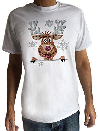 Herren T-Shirt weiß Christmas Novelty Rudolph Rentier Glitzer süßem Gesicht Print C6–5