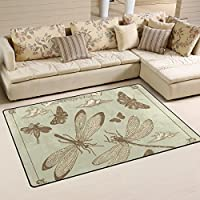 DEYYA Custom Dragonfly Non-slip Area Rugs Pad Cover 31 x 20 Inch, Art Throw Rugs Carpet Modern Carpet for Home Dining Room Playroom Living Room Decoration