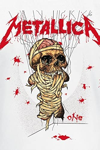 Band-Merch Metallica One Landmine M/änner T-Shirt wei/ß Bands