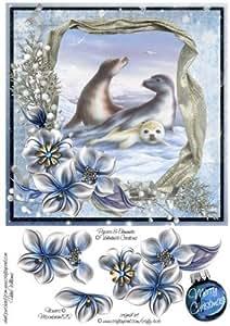 Flores de invierno y sellos en la nieve 8x 8inch paso por paso por Helen Williams
