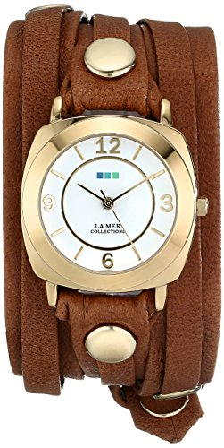 14k Ladies Watch - La Mer Collections Women's LMODY1005 14k Gold-Plated Watch with Leather Wrap-Around Band