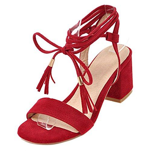 AIYOUMEI Damen Wildleder Chunky Heel Sandalen mit Schnürung und 6cm Absatz Bequem Sommer Schuhe Rot