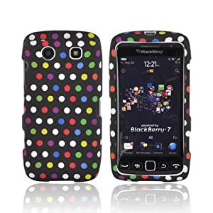 For Blackberry Torch 9850 Rainbow Polka Dots Black Rubber Hard Shell Case Snap On Cover