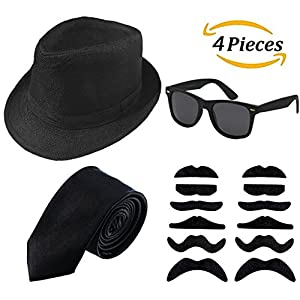 1920s Men's Clothing Accessories Gangster Costume Set - Manhattanhat,Sunglasses,Self-Protected Beard,Tie (Black)