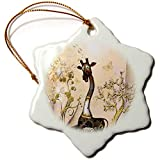 3dRose Heike Köhnen Design Steampunk - Funny steampunk giraffe with clocks and gears - 3 inch Snowflake Porcelain Ornament (orn_289162_1)