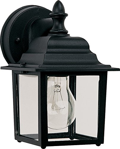 Builder Cast Black (Maxim 1025BK Builder Cast 1-Light Outdoor Wall Lantern, Black Finish, Clear Glass, MB Incandescent Incandescent Bulb , 13W Max., Damp Safety Rating, 2700K Color Temp, Glass Shade Material, 3600 Rated Lumens)