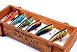 Dorisea Fishing Lures Hard Bait Popper Lure with Treble Hook Life-Like Swimbait Fishing Bait 3D Fishing Eyes Popper Crankbait Vibe Sinking Lure for Bass Trout Walleye Redfish (15-6Pcs/Lot)