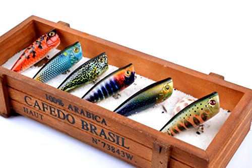 Dorisea Fishing Lures Hard Bait Popper Lure with Treble Hook Life-Like Swimbait Fishing Bait 3D Fishing Eyes Popper Crankbait Vibe Sinking Lure for Bass Trout Walleye Redfish (15-6Pcs/Lot)