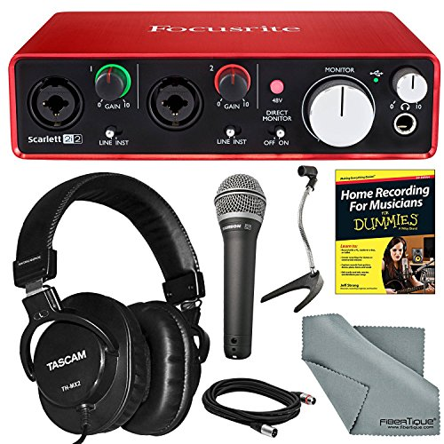 Focusrite Scarlett 2i2 (2nd Gen) USB Audio Interface and Bundle with Home Recording for Musicians Guide + Handheld Mic + FiberTique cloth and More by Photo Savings
