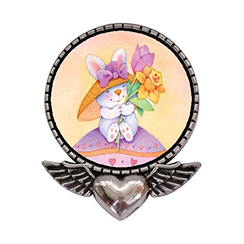 GiftJewelryShop Ancient Style Silver Plate Easter Bunny With Flowers Heart With Angel Wings Pins Brooch