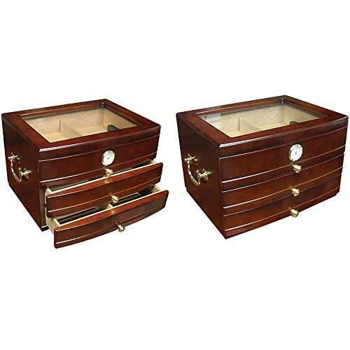 Prestige Import Group - The Regent GlassTop Cigar Humidor - Color: Dark -