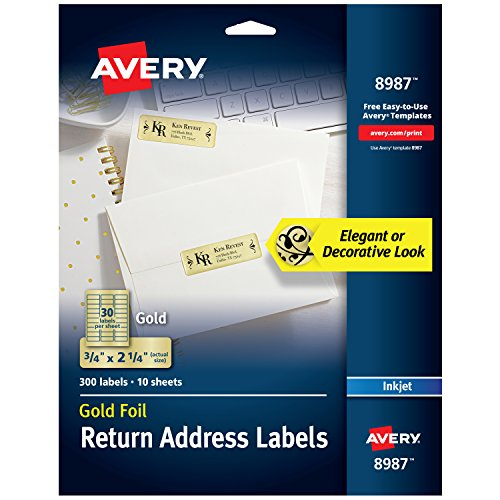 - Avery Gold Address Labels for Inkjet Printers, 3/4