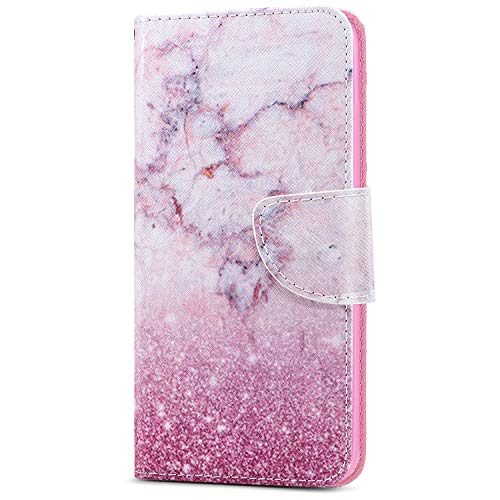 Cover,ikasus Butterfly Marble Love Heart Cat Flower Leaves Pattern PU Leather Wallet Case with Kickstand Card Holder ID Slot Rubber Flip Cover for MOTO G6,Pink Marble ()